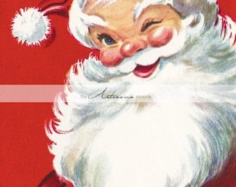 Vintage Christmas Santa Claus Wink Card - Instant Art Printable Download - Scrapbooking Paper Crafts Image Transfer Altered Art - Red Santa