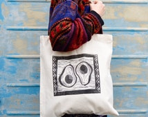 Printed Avocado Tote bag. unique quirky hand printed tote bag with avocado design and african tribal pattern border vegan tote bag