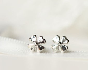 Clover Leaf Lucky Stud Earrings, 925 Sterling Silver Earrings, St Patrick's Day Earrings, Four Leaf Clover Earrings, Luck of the Irish