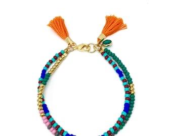 Double Strand Beaded Bracelet  Gift for Her Seed Bead Friendship Bracelet Multicolor Bracelet with Tassel Boho Bracelet Stackable Bracelet