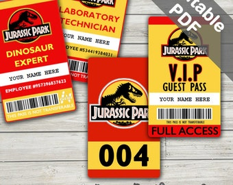 Jurassic Park Costume; Jurassic Park ID Badge, Visitor Pass, Vehicle Pass. Party Printables. (Editable PDF)