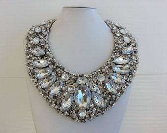 Statement necklace, Strass necklace, Big necklace, Sandra necklace, Collar necklace with rhinestone and strass IV112