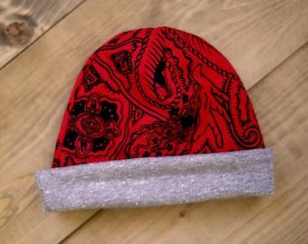 RED & GREY BEANIE Hat
