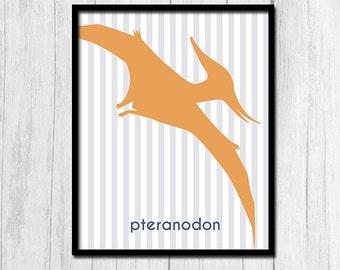 Pteranodon Print, Dinosaur Printables, Kids Room Decor, Printable Wall Art, Downloadable Art, Boys Room Decor, Boys Room Art, Pinstripe