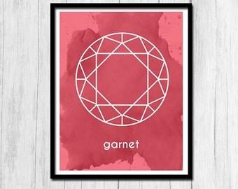 Garnet Print Instant Download Gift for January Birthday Garnet Art Birthstone Art Birthstone Print Digital Download January Printable