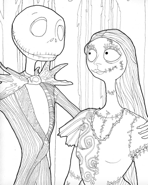bobbyjack coloring pages | DIGITAL DOWNLOAD Jack and Sally Halloween Coloring Page