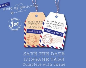 100 Airmail / Destination Save the Date Wedding Luggage Tags. P&P + Twine included