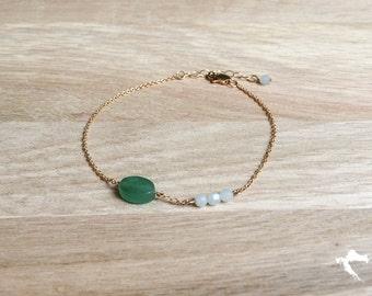 Bracelet Croatia green Aventurine stones and Amazonite, Gold-filled 14 k