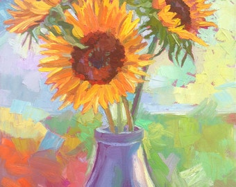 """Matted 7.5 """" x 10"""", """"Sunflowers in Vase"""" fine art print"""