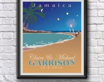 Destination Wedding Personalized Gift Beach Tropical or Rocky Customizable Art Giclee Poster Print Bridal Keepsake