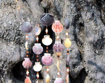 Halloween Mobile, Sea Shell Wind Chime, Driftwood wind chime, Halloween Decorations, Skeleton Heads, Window Decor, Sea shell mobile, Shells