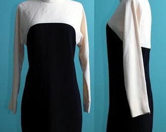 Perfect Pint of Guiness Black and White Mod Dress 1960s, Small