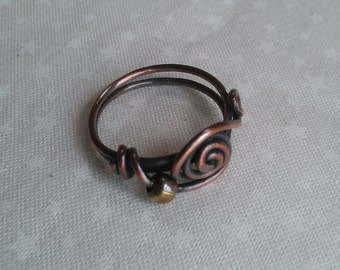 copper ring, wire wrapped ring , handmade ring , handmade jewelry