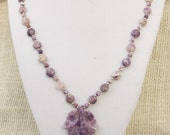 Purple Lepidolite Leaf Necklace with Sterling Silver