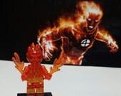 Human Torch Minifigure Marvel Comics FF Fantastic Four Johnny Storm Building Block Toy