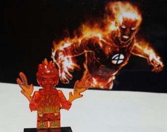 Human Torch Minifigure Marvel Comics FF Fantastic Four Johnny Storm (LEGO Compatible)