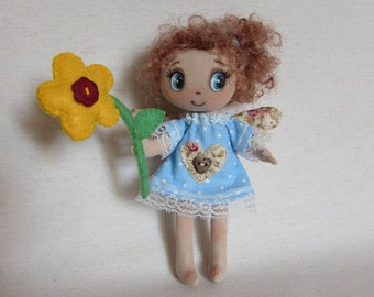 Rag Doll, Angel Doll, textile Doll, Girl Gift, Handmade doll,Miniature doll
