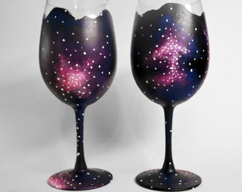hand painted wine glasses-Set of 2-Unique design-Outer Space-Galaxy-wine glass set