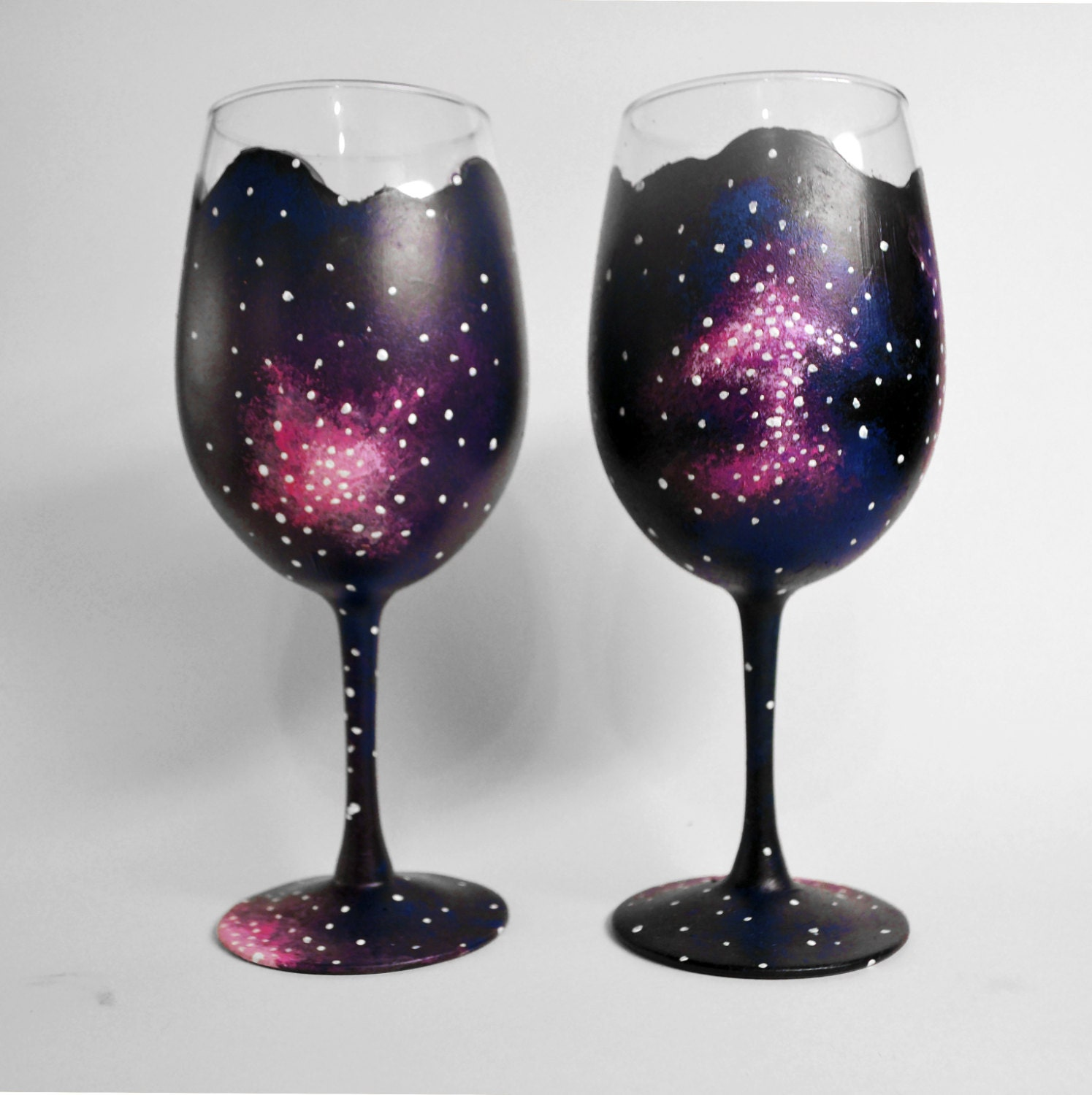 Hand painted wine glasses set of 2 unique design outer for Cool wine glass designs