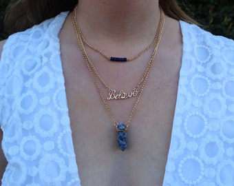 Believe Lapis Lazuli Gold Crystal Necklace