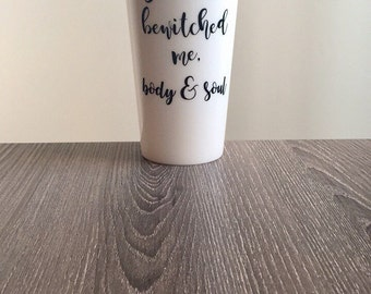 Jane Austen Plastic travel mug, Pride and Prejudice, You have bewitched me body & soul, Quote, Book Lover, Mr. Darcy, Proposal