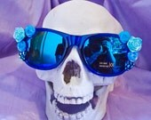 Blue Belle Sun Glasses - one of a kind kawaii soft grunge indie pastel goth fairy kei lolita accessory