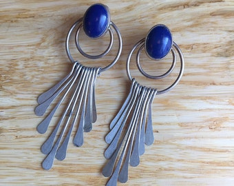 Vintage Sterling Silver and Lapis Lazuli ~ Dangle Fringe Boho Earrings