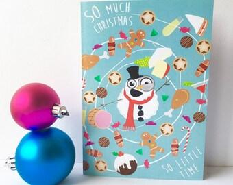 Quirky Christmas card, funny Christmas food themed, festive holiday, seasons greetings card.