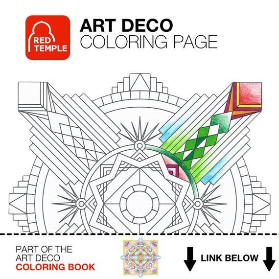 Items similar to mandala coloring page art deco gatsby for Art deco coloring pages for adults