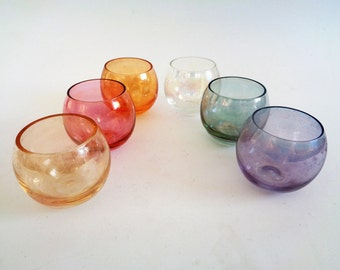 Multi Colored Glass Tumblers, Roly Poly Glasses, Glass Tumblers, Set of 6, Mid Century Roly Poly Glasses, Multi Colored shot glasses, 50s
