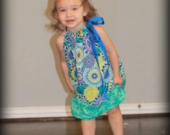 Floral Pillowcase Dress - baby dress toddler dress girls dress summer dress blue floral