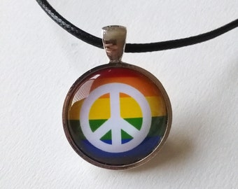 LGBT Pride Necklace - lgbt jewelry, lgbt necklace, gay pride jewelry, peace necklace, equality jewelry, lesbian pride necklace