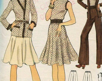 Vogue 8642 Vintage Retro 1970s 70s Suit Jacket Skirt Blouse Pants Size 10 Bust 32.5 UNCUT Free Us ship Sewing Pattern