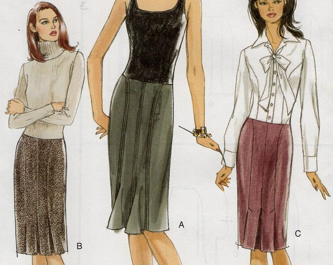 Free Us Ship Sewing Pattern Vogue 8126 Seamed Skirt Pleated Hem 3 designs 2005 Out of Print Size 8 10 12 14 Waist 24-28 Uncut