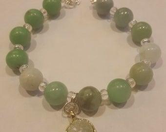Chakra Crystal Bracelet Green Aventurine and Green Druzy Crystal Dangle