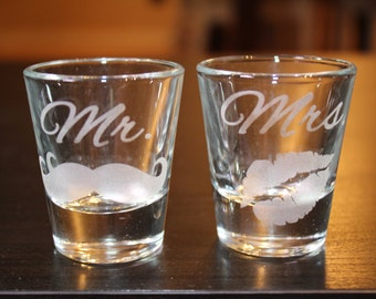 Mr. and Mrs. Shot Glasses -Set of 2 -Mustache -Lips