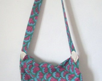 Messenger bag Bright pink print cotton shoulder bag with front inside pockets