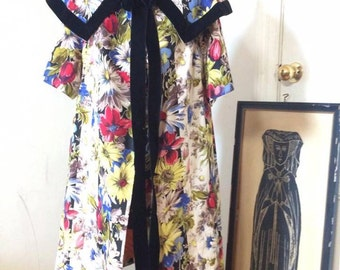 silk and velvet 1960s hand made floral opera coat