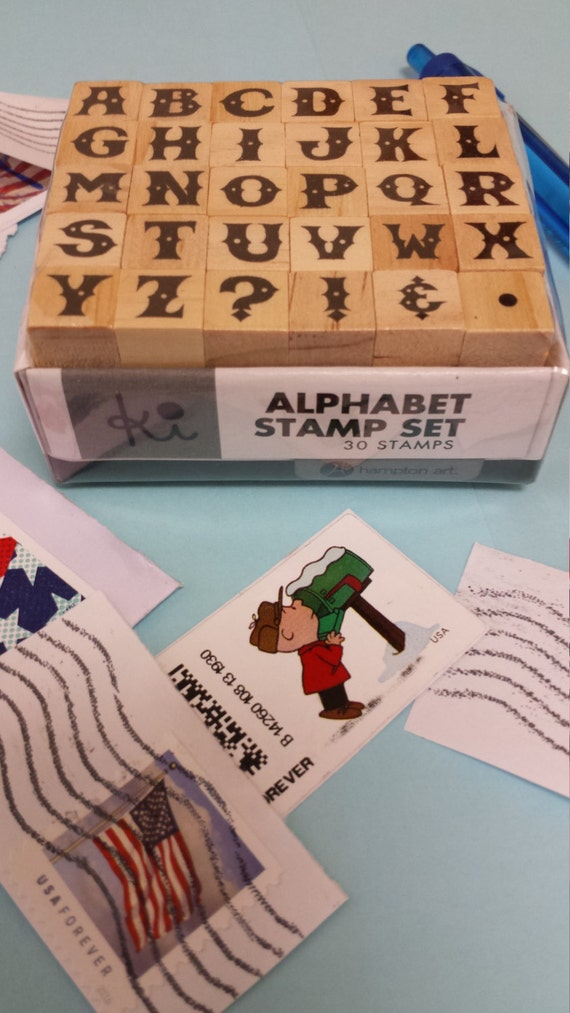 Alphabet Rubber Stamp Set 30 Mini Rubber Stamps Capital