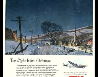 1952 Ad Print - TWA Airlines The Flight Before Christmas