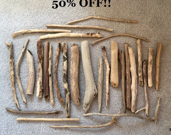"50% off !!!  29  Pieces of Lake Michigan driftwood ~ varying in length from 7"" to 14"""