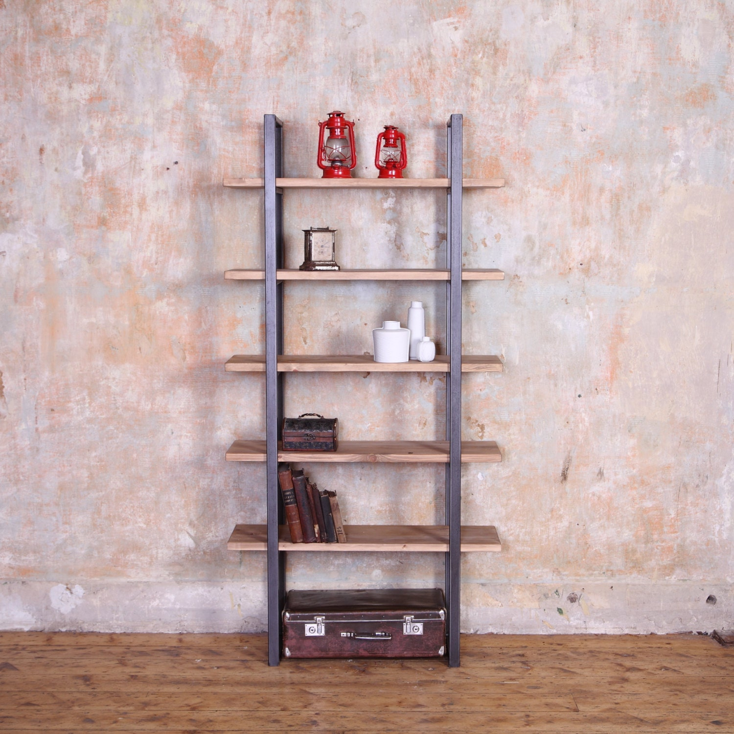 industrial shelving unit with glass and oak by hrdla design