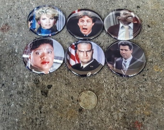 "Buttons or Magnets Set of 6 2.25"" 58mm Night Court 80s TV Magnets or Pinback Buttons"