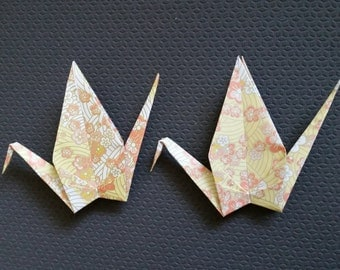 Large origami paper cranes - Orange Cherry Blossom Sakura flower print - great for weddings, parties