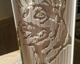 German Shephard cut and fold book folding pattern