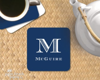 Men's Club Paper Coasters - Single Initial Monogram Disposable Drink Coasters - Masculine Personalized Bar Decor - Host or Hostess Gift