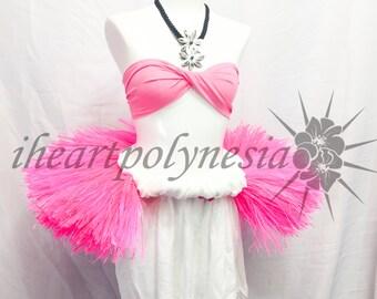 FREE SHIP PROMO Tahitian costume large half hip belt light pink