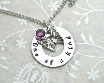 Mom Necklace, Daughter Necklace, Butterfly Necklace, Stamped Washer, Washer Necklace, Birthstone Necklace, Charm Necklace, Custom Necklace