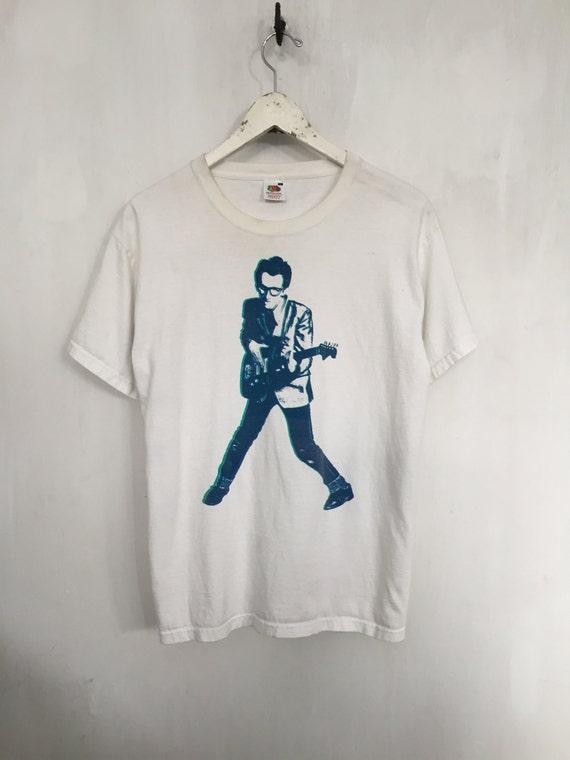 Elvis costello shirt 1990s vintage t shirt punk band t shirt for Dingy white t shirts