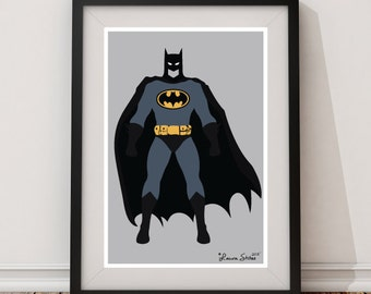 Batman Character Poster/Print - minimalist batman superhero bat bruce strong hero poster art decor